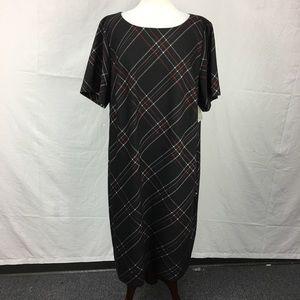 Kasper Black Print Shift Dress